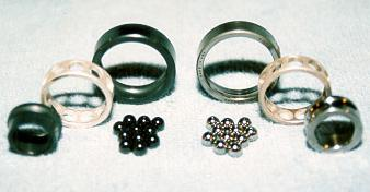 All-ceramic and All-steel Bearings left & right respectively